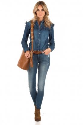 Denim blouse Ruffle | blue