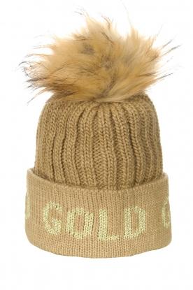 Goldbergh |  Knitted chunky beanie with faux fur Hodd | beige