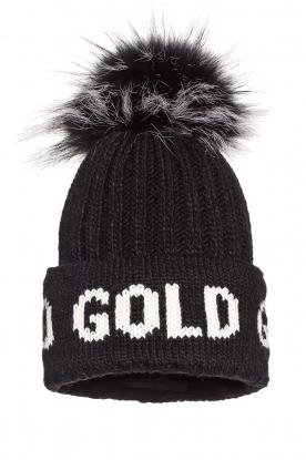 Goldbergh |  Knitted chunky beanie with faux fur Hodd | black