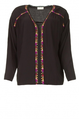 Louizon |  Blouse with coloured seams Bobdy | black