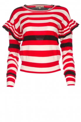 Patrizia Pepe |  Striped sweater with ruffles Belle | red