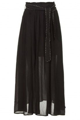 Louizon | Maxi skirt with belt Mishka | black