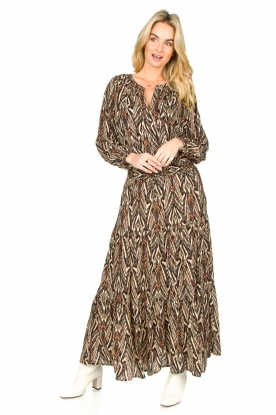 Louizon |  Printed maxi skirt Jagarma | beige