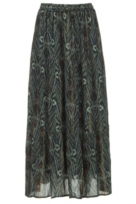 Louizon | Maxi skirt with lurex stripes Jagarma | green