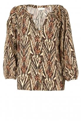 Louizon |  Printed blouse Joel | beige