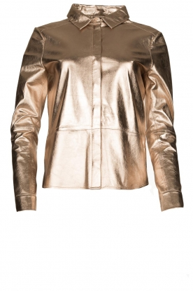 STUDIO AR BY ARMA | Golden leather blouse Dita | gold