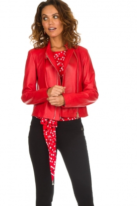 Patrizia Pepe |  Leather biker jacket Alize | red