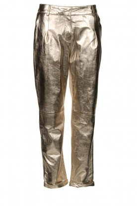 STUDIO AR BY ARMA |Metallic leren chinobroek Nessa | goud