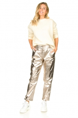 STUDIO AR BY ARMA |  Metallic leather chino pants Nessa | gold