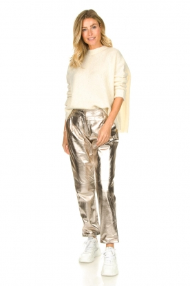 Look Metallic leather chino pants Nessa