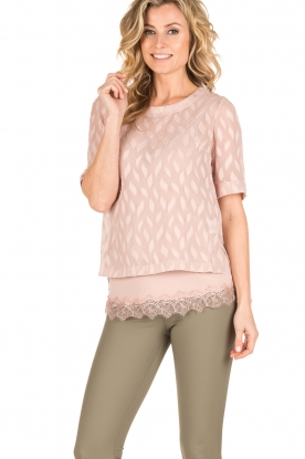 Rosemunde | Semi-transparante top Leaf | roze