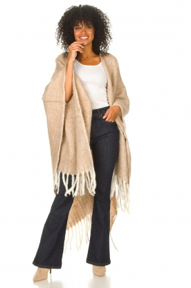 JC Sophie |  Knitted poncho Jaelle | camel