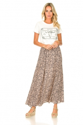 JC Sophie |  Maxi skirt with print Fleur | black