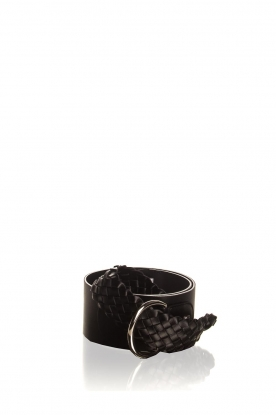 AnnaRita N |  Belt with braided details Astrid | black