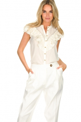 AnnaRita N |  Blouse with ruffles Irina | white