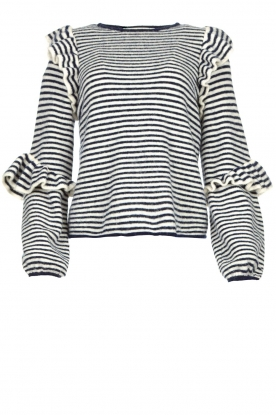 Notes Du Nord |Striped ruffle sweater Monica | blue