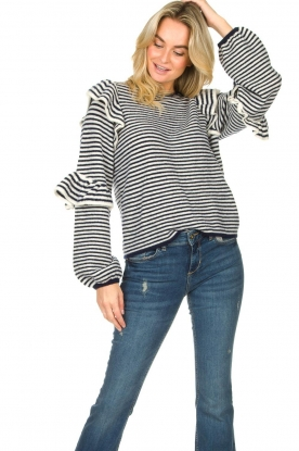 Notes Du Nord | Striped ruffle sweater Monica | blue