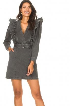 Magali Pascal |  Denim ruffle dress Alexia | off-black