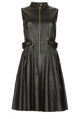Ibana | Leather dress Dalies | black