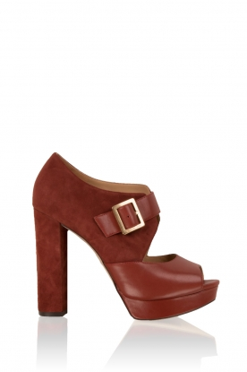 Leather platform sandalen Eleni | red brown