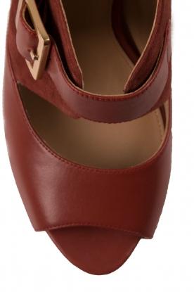 MICHAEL Michael Kors | Leren platform sandalen Eleni | roodbruin