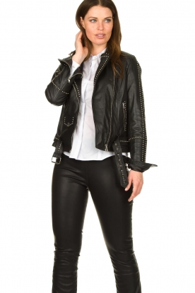 Ibana |  Studded leather biker jacket Barbara | black
