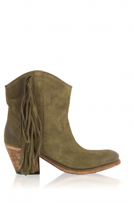 Catarina Martins |  Suede ankle boots Tulum Velourk | dark green