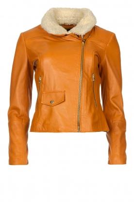 Ibana |  Leather biker jacket with teddy collar Bibi | camel