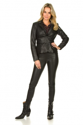 Look Belted leather blazer Jazlyn