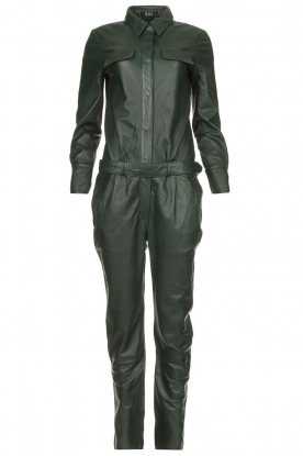 Ibana | Leather jumpsuit Jolinde | dark green