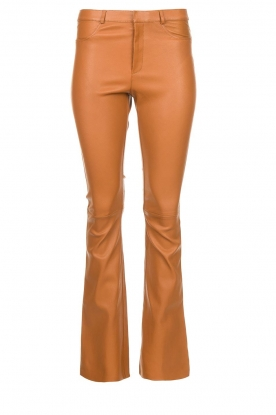 Ibana |  Leather flared pants Pearl | camel