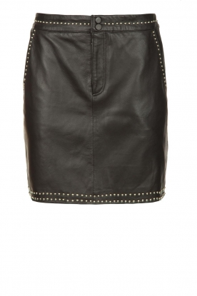 Ibana |  Studded leather skirt Sharon | black