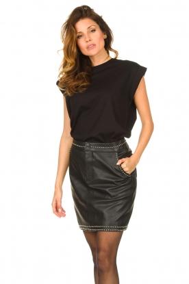 Ibana |  Studded leather skirt Sharon | black