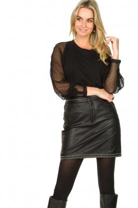 Ibana | Leren rok met studs Sharon | zwart