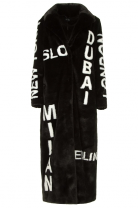 Ibana | Long faux fur coat with text print Luna | black