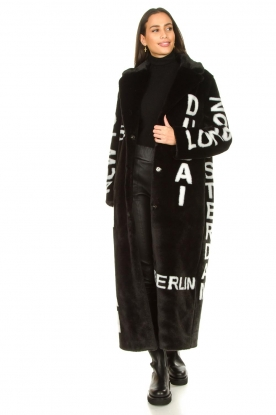 Look Long faux fur coat with text print Luna