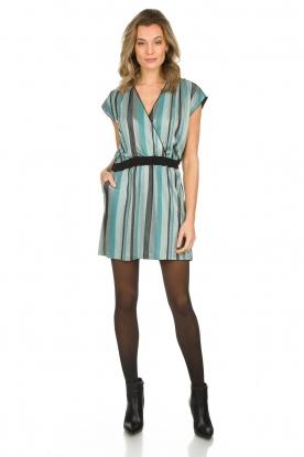 Atos Lombardini | Gestreepte jurk met glitters Fenna | blauw