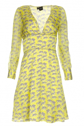 Atos Lombardini |  Printed dress with leopards Gabriella | yellow