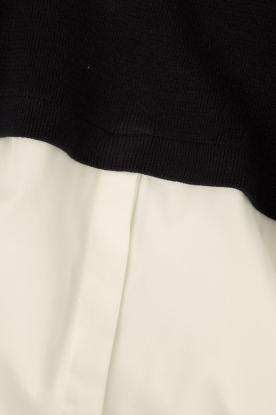 Knit-ted | Trui met blouse Naomi | donkerblauw