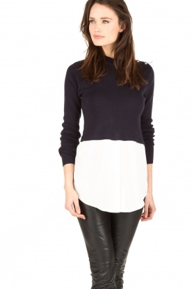 Knit-ted |  Sweater with blouse Naomi | dark blue