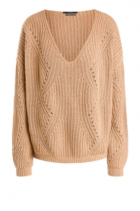 Set | Knitted V-neck sweater Vinnie | camel