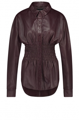 Ibana |  Leather blouse with smocked waist Tally | bordeaux