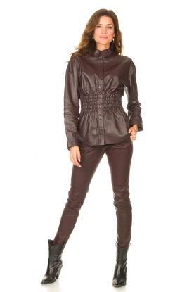 Look Leather blouse with smocked waist Tally
