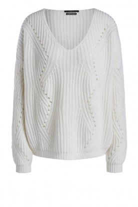 Set | Knitted V-neck sweater Vinnie | white