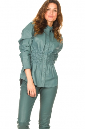 Ibana |  Leather blouse with smocked waist Tally | green