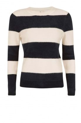 Knit-ted |  Striped sweater Maike | dark blue/white