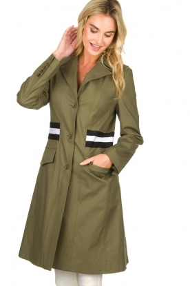 Atos Lombardini |  Trench coat with striped detail Olivia | green