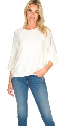 Atos Lombardini |  Top with cropped sleeves Maglia | white