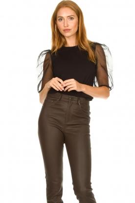 Set |  Top with organza sleeves Lesli | black