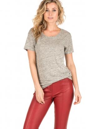 Knit-ted | Linnen T-shirt Brechtje | grijs